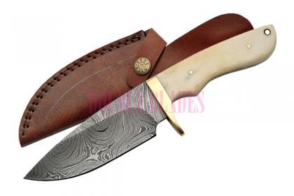 Damascus Hunting Knife Bone Handle