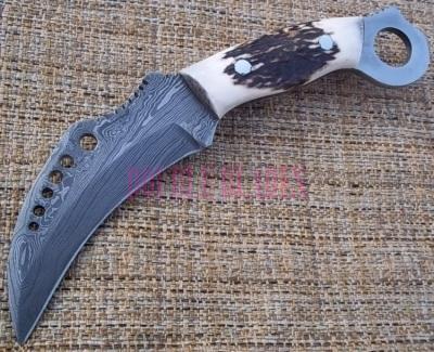 Damascus Steel Karambit Hunting Knife Stag Handle