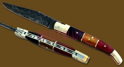 Damascus Steel Laguiole Knife Single Blade Color Wood Handle