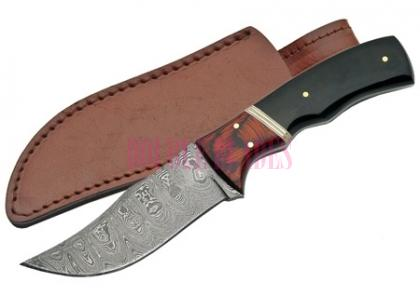 DAMASCUS HUNTING KNIFE HORN HANDLE