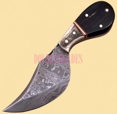 Damascus Skinner Knife Bone Handle