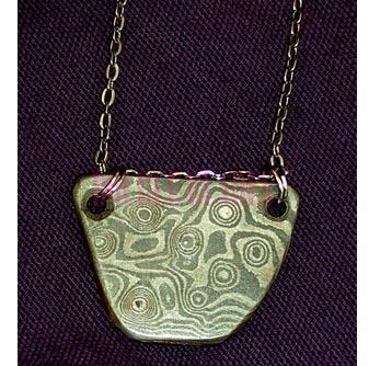 Damascus Steel Necklace Raindrop Pattern