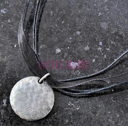 Handmade Damascus Steel Circle Pendant Necklac