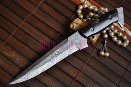 Damascus Hunting Knife Buffalo Horn Handle