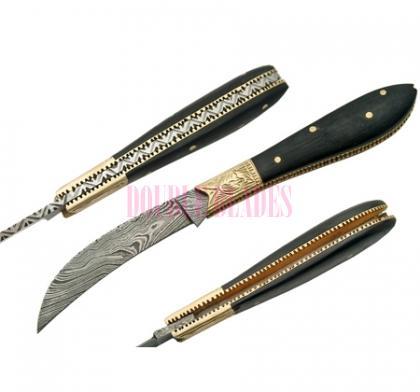 Damascus Folding Knife Horn Handle