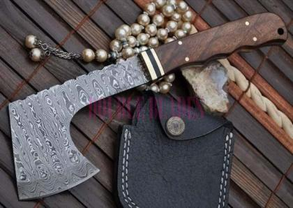 DAMASCUS HUNTING KNIFE THROWING AXE HUNTING HATCHET SURVIVAL TACTICAL