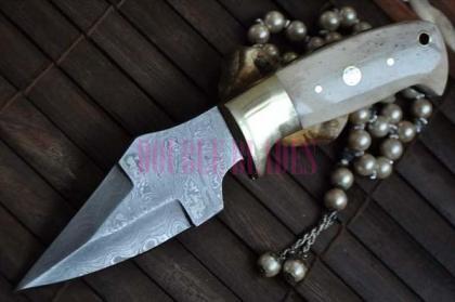 Custom made Damascus hunter Knife Bone handle
