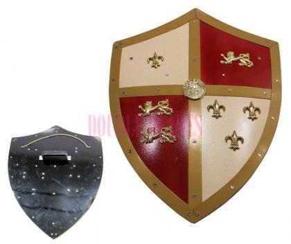 Medieval Royal Knight Crusader Shield Lion Bane