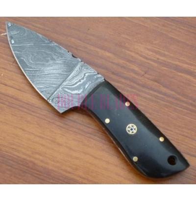 Damascus Skinner Knife horn Handle