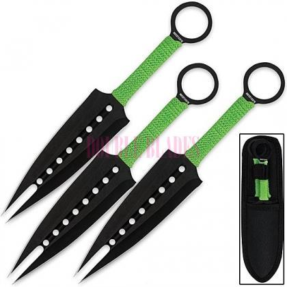 Kunai Zombie Green  Dual Point Thorwing Knives Set
