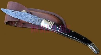 Damascus Steel Laguiole Knife Single Blade Horn Handle