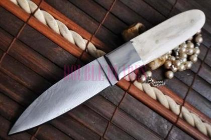 Handmade Damascus Hunting Knife- Camel Bone handle