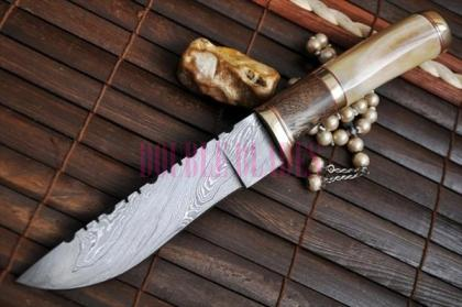 Handmade Damascus Hunting Knife Wood - Bone Handle