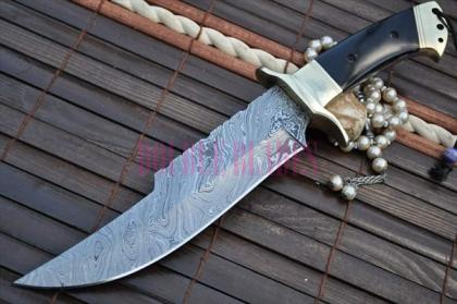 Custom Made Damascus Hunting Bowie knife Work of Art