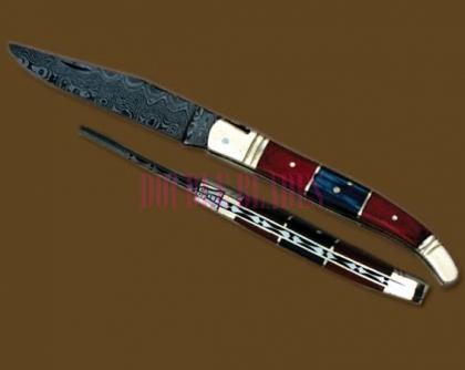 Damascus Steel Laguiole Knife Single Blade Wood Handle